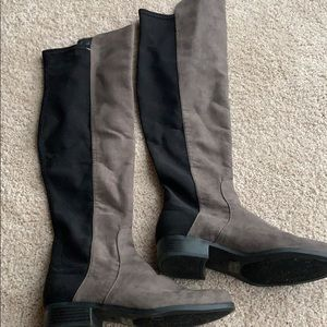 Unisa Grey suede over the knee boots